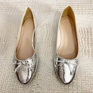 Truffle Collection Silver Snake Print Ballet Flats